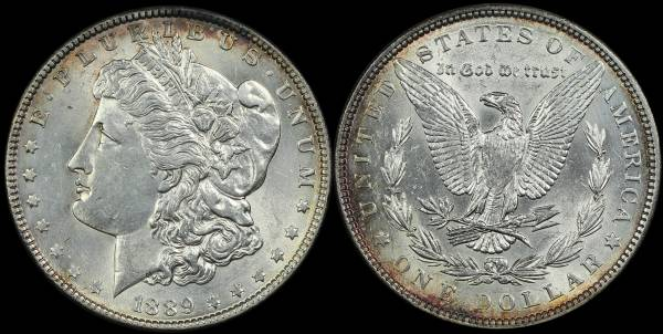 1889 P Morgan Dollar AU cleaned