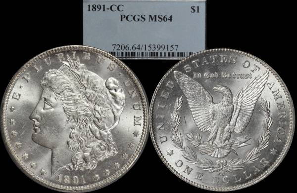 1891 CC Morgan Dollar PCGS MS64 15399157