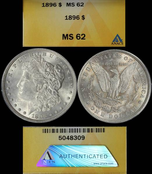 1896 P Morgan Dollar ANACS MS62 5048309 Display