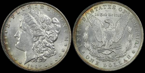 1897 P Morgan Dollar AU BU cleaned