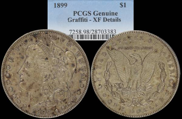 1899 P Morgan Dollar XF Details Graffiti 28703383
