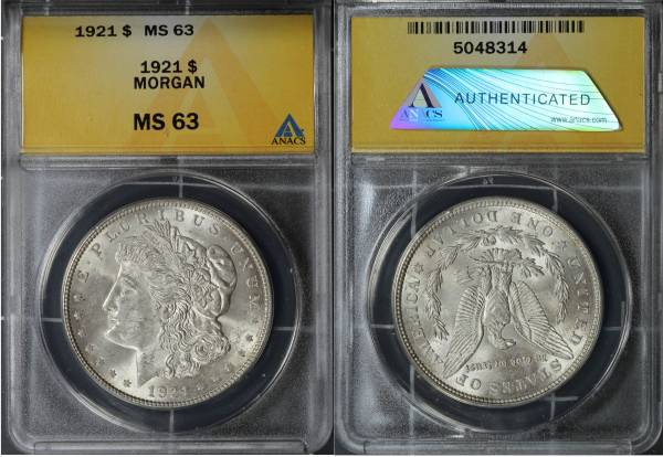 1921 P Morgan Dollar ANACS MS63 5048314 slab