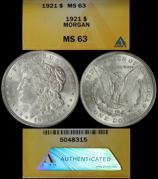 1921 P Morgan Dollar ANACS MS63 5048315 Display