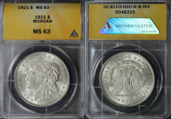1921 P Morgan Dollar ANACS MS63 5048315 slab
