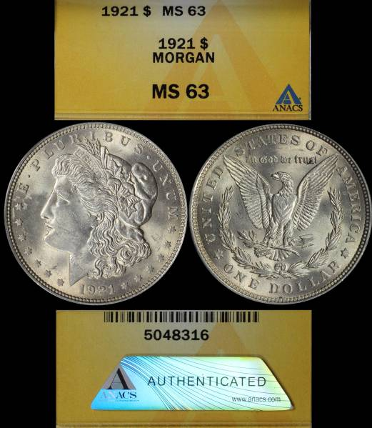 1921 P Morgan Dollar ANACS MS63 5048316 Display