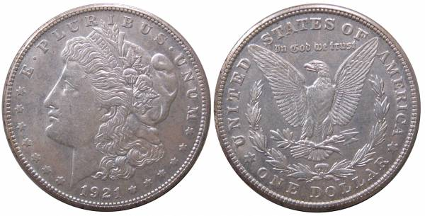 1921 S Morgan Dollar AU