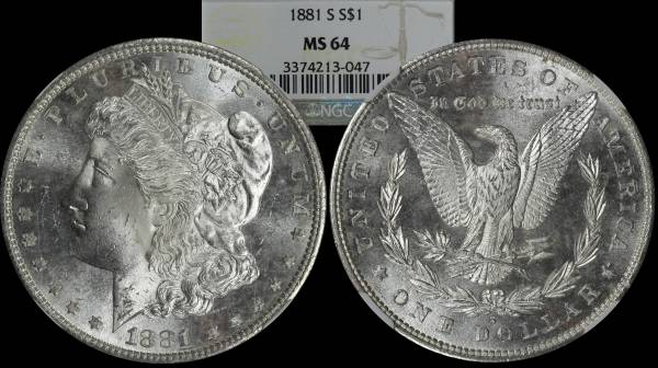 Morgan Dollar 1881 S NGC MS64 3374213-047