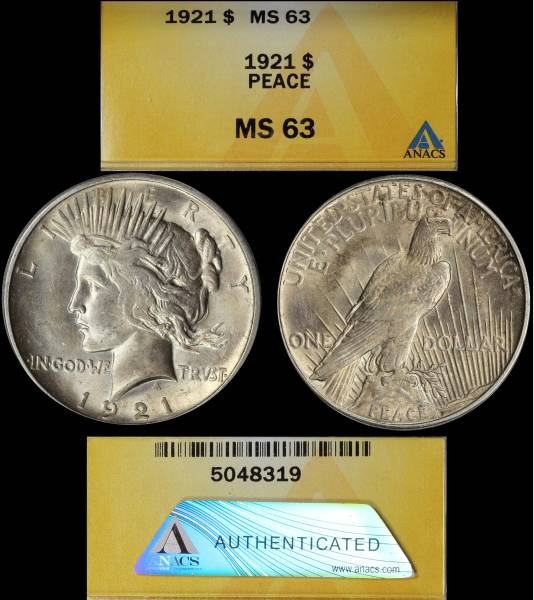 1921 Peace Dollar MS63 ANACS 5048319 display