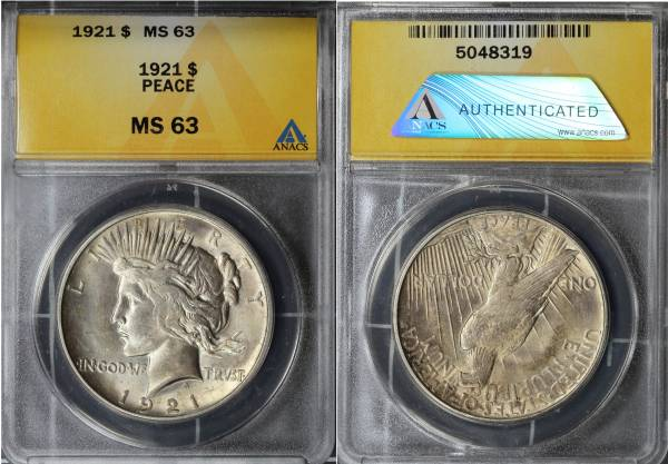 1921 Peace Dollar MS63 ANACS 5048319 slab