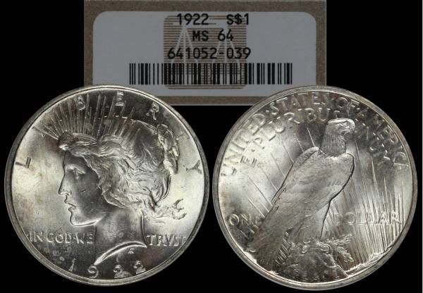 1922 P Peace Dollar NGC MS64 651052-039