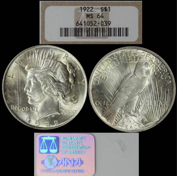 1922 Peace Dollar MS64 NGC 641052-036 display