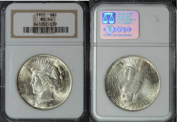 1922 Peace Dollar MS64 NGC 641052-036 slab