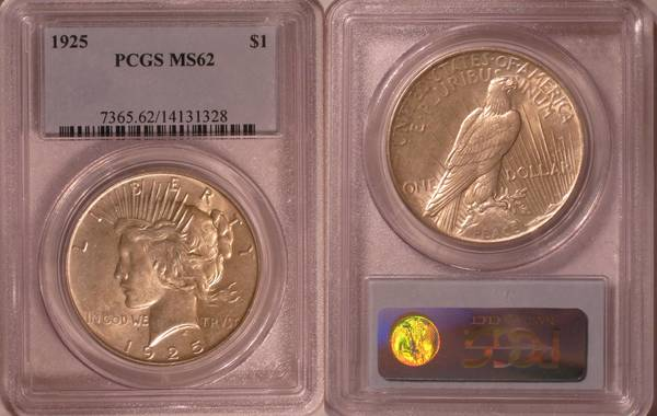 1925 P Peace Dollar MS62 PCGS