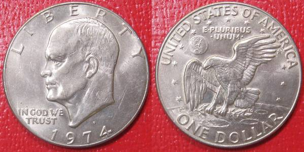 1974 D Circulated Ike Eisenhower Dollar Coin