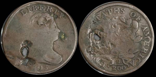1803 Half Cent Damaged