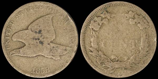 1858 Flying Eagle Cent AG3