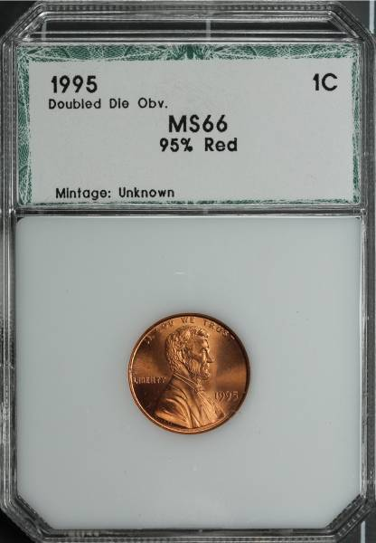 1995 Double Die Lincoln Cent PCI MS66 95 percent RED 3292410005 slab obvers