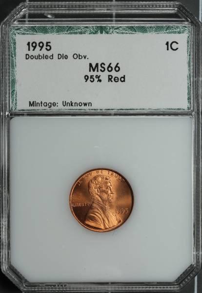 1995 Double Die Lincoln Cent PCI MS66 95 percent RED 3292410007 slab obvers