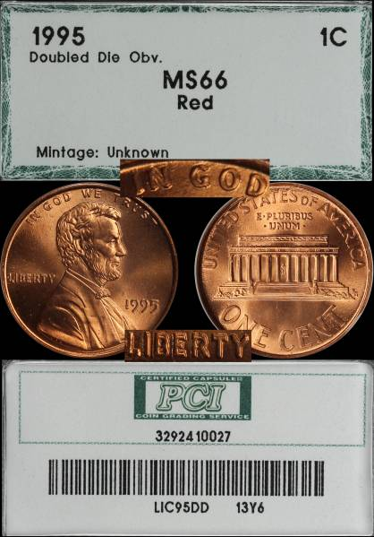 1995 Double Die Lincoln Cent PCI MS66 RED 3292410027