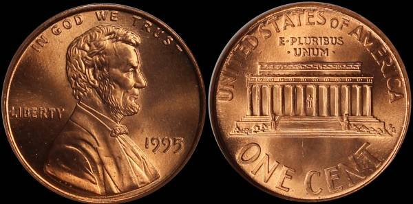 1995 Double Die Lincoln Cent PCI MS66 RED 3292410027 obverse reverse