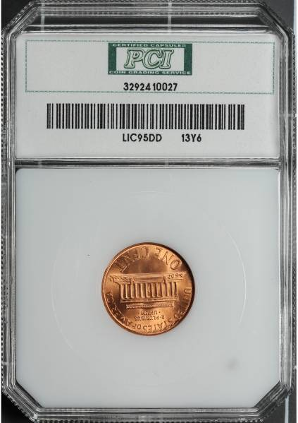 1995 Double Die Lincoln Cent PCI MS66 RED 3292410027 slab reverse
