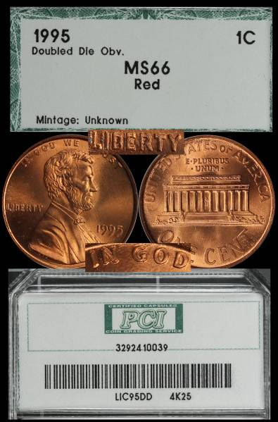 1995 Double Die Lincoln Cent PCI MS66 RED 3292410039