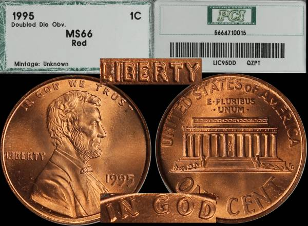 1995 Double Die Lincoln Cent PCI MS66 RED 5664710015