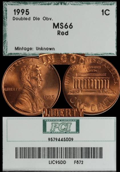 1995 Double Die Lincoln Cent PCI MS66 RED 9579445009