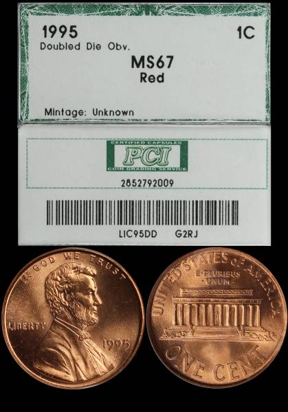 1995 Double Die Lincoln Cent PCI MS67 RED 2852792009 slab