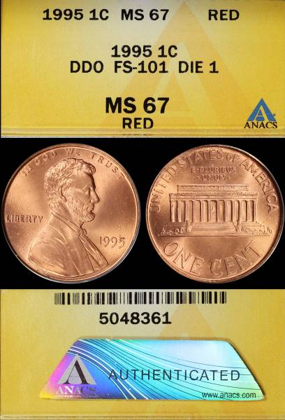 1995 P DDO Double Die Obverse FS101 Die 1 MS67 RED ANACS 5048361 display