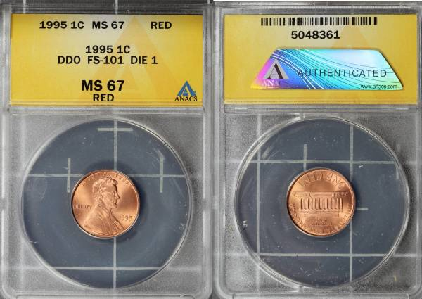 1995 P DDO Double Die Obverse FS101 Die 1 MS67 RED ANACS 5048361 slab