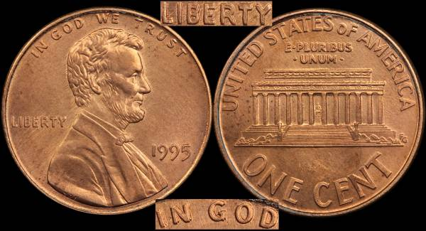 1995 P Double Die Lincoln Cent coin 5