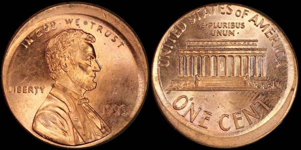 Off Center Lincoln Cent 1999 P RED UNC