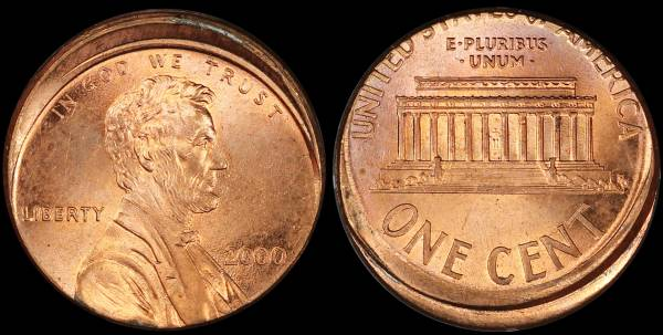 Off Center Lincoln Cent 2000 P