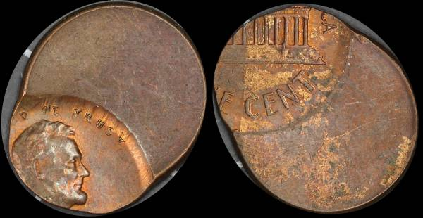 Off Center Lincoln Cent no date egg shape red brown