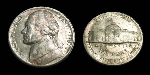 1987P Jefferson Nickel Improper Annealing Error