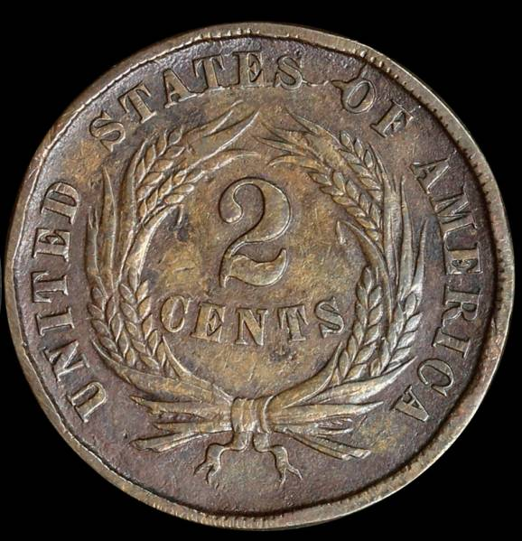 1864 two cent piece Die Crack reverse
