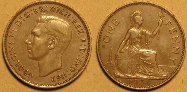 1938 Great Britian Large Penny