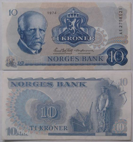 Norges Bank 10 TI Kroner Bill Currency 1974