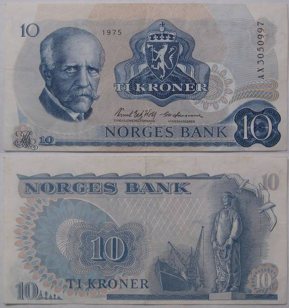 Norges Bank 10 TI Kroner Bill Currency 1975