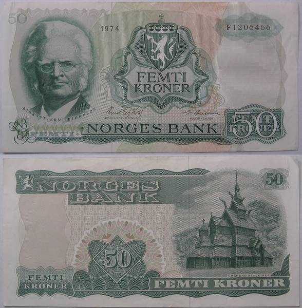 Norwegian Norges Bank 50 Femti Kroner Bill Currency 1974
