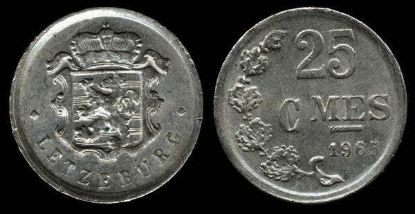 Luxembourg 25 Centimes 1965