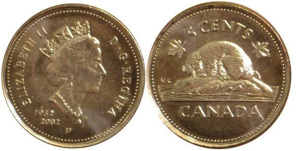 Canadian Nickel 1952 2002 50th Anniversary Of Queen Elizabeth My Coin Pictures