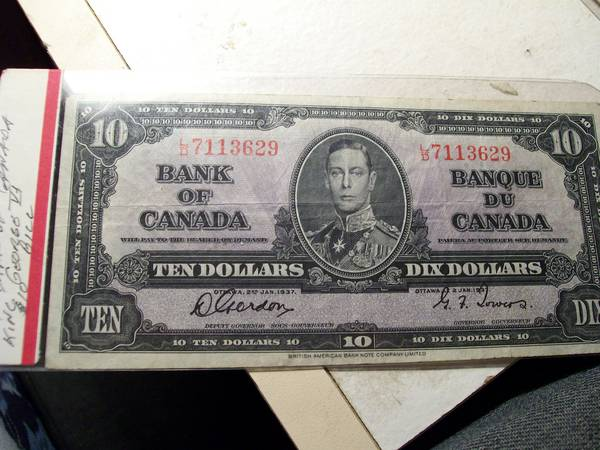 1937 King George VI 10 Dollar Note
