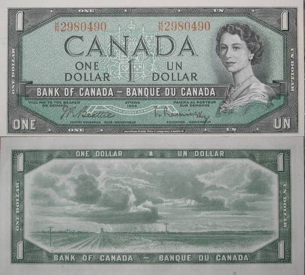 1 One Un Dollar Canadian Note 1954 Crisp Uncirculated