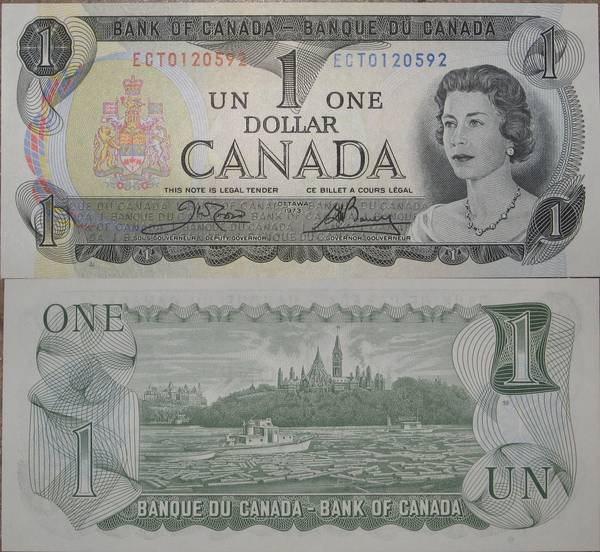 1 One Un Dollar Canadian Note 1973 Crisp Uncirculated
