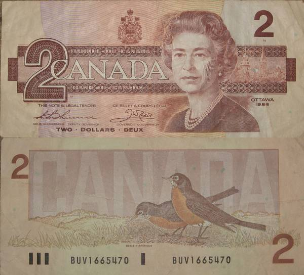 2 Two Deux Dollar Canadian Note 1986
