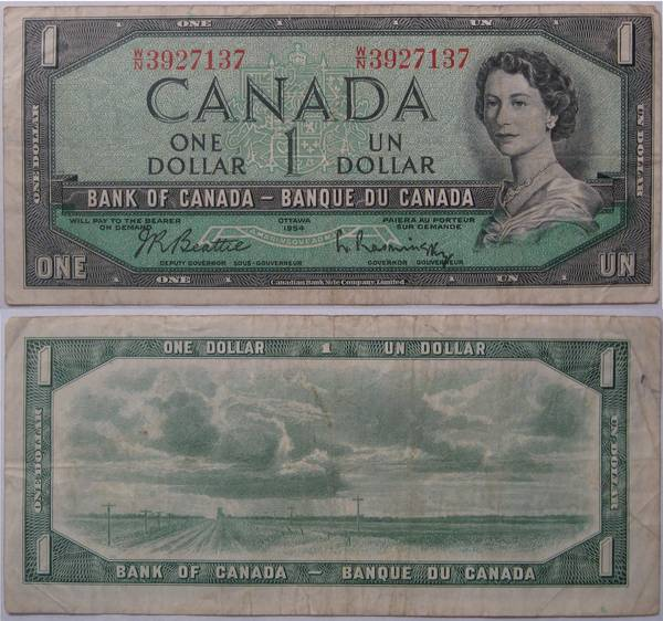 Canadian One Dollar Bill 1954 Ottawa.