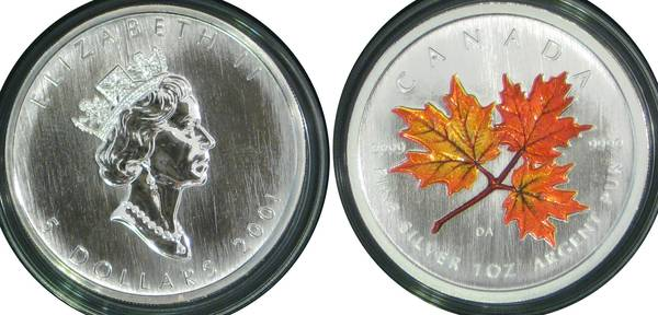Canadian 5 Five Dollar Elizabeth II Silver Color Maple Leaf
