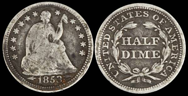 1853 Seated Liberty Half Dime with Arrows G4